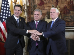 "Self-Declared Venezuelan ""Interim President"" Juan Guaido (L), Colombian President Ivan Duque (C) and US Vice President Mike Pence (R) stand side by side in Bogota, Colombia"